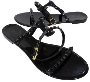 Valentino Stud Chanel Gucci Christian Lacquered Black Sandals
