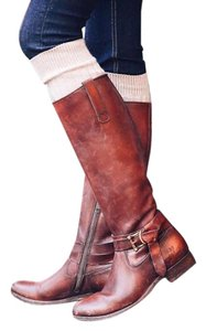 Frye Leather Boot Knee High Buckle Redwood Boots