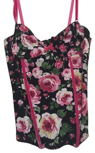 Blumarine Roses Velvet Top Black and pink, floral corset