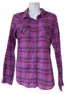 Mossimo Supply Co. Clasp Button Down Longsleeve Button Down Shirt purple, pink