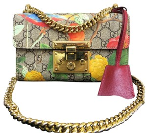 Gucci 2016 Like New Floral Padlock Shoulder Bag