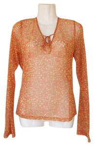 New York & Company Longsleeve Sheer Keyhole Square Top yellow, orange, green