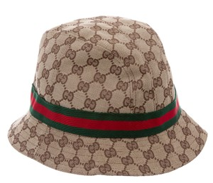Gucci Beige Gucci GG Web Trimmed GG Canvas Bucket Hat L