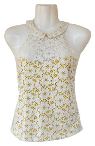 Urban Outfitters Halter Peter Pan Collar Lace Buttons Yellow white, yellow Halter Top