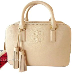 Tory Burch Pebbled Leather Strap Tassels Thea Double Zip Satchel in Light Oak (Blush Pink Beige)
