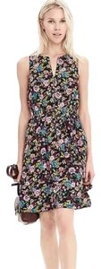 Banana Republic short dress Black Floral on Tradesy