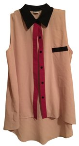 Kieu's Boutique Button Down Night Out Blouse Button Down Shirt Beige, magenta, black