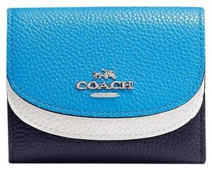 Coach Coach Small Double Flap Leather Wallet COLOR BLOCK NAVY NWT 53859