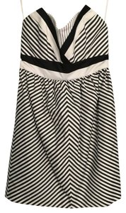 Alice + Olivia short dress Black and White Striped Strapless on Tradesy
