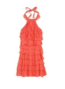 Alice + Olivia Layered Tiered Orange Sleeveless Dress