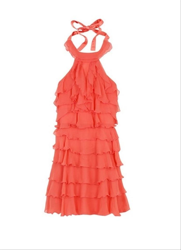 9e800a67d8c Alice + Olivia Coral Layered Tiered Mid-length Cocktail Dress Size 4 ...