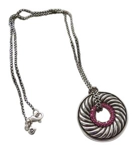 David Yurman Large Sculpted Cable Disc with Pink Sapphires, 16""
