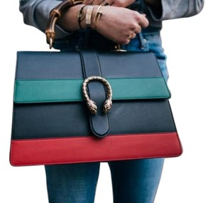 Gucci Tote in black green & red
