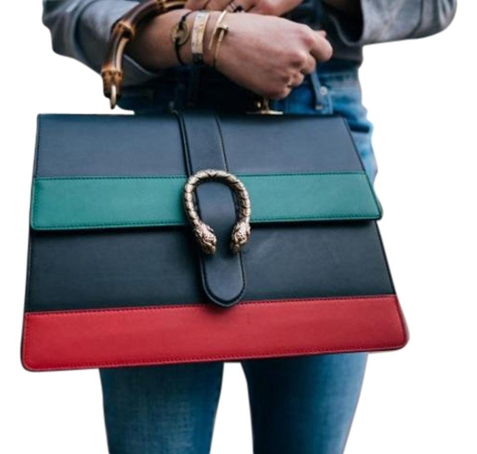 3273d0f61734 Gucci Dionysus Striped Top Handle Black Green & Red Leather Tote ...