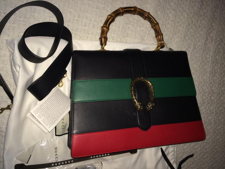 61c99a9417a3 Gucci Dionysus Striped Top Handle Black Green & Red Leather Tote - Tradesy
