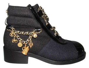 Chanel 15a Dark Blue Moto Dark Navy/Black Boots