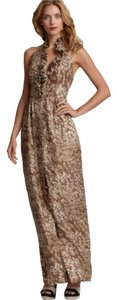 Tan Printed Maxi Dress by Rachel Zoe Maxi Silk Halter Ruffle Print