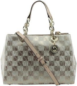 Michael Kors Cynthia Medium Signature Checkrboard Saffiano Leather Satchel in Gold / Ecru