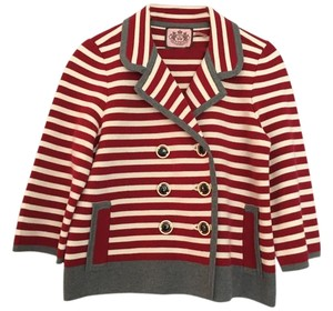 Juicy Couture Stripe Gray Red and White Jacket