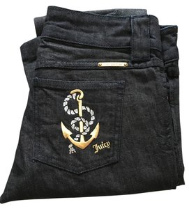 Juicy Couture Anchor Gold Straight Leg Jeans-Dark Rinse