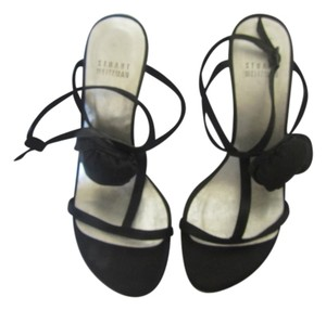 Stuart Weitzman Black Satin Sandals
