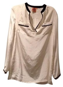Tory Burch Silk Logo Top Ivory