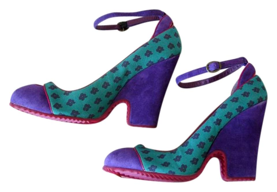 Marc Jacobs Green Strap and Purple Ankle Strap Green Wedge-like Pumps 85c93d