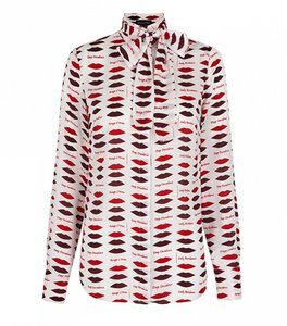 Banana Republic Lip Bow Button Down Shirt Saucy Red