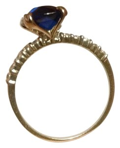 NYEsquisite Natural Sapphire & Diamonds Fine Sterling Silver Ring sz7
