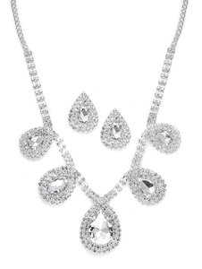Mariell Rhinestone Necklace & Earrings Set With Etched Roses