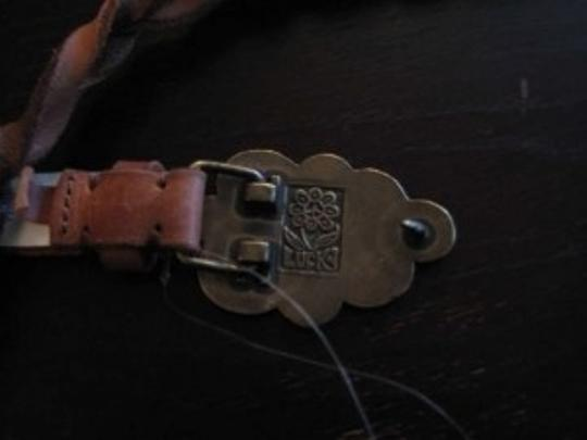 Lucky Brand Lucky Brand Braided Peace Sign Belt Genuine Leather