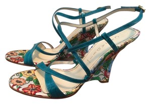 Casadei Floral Strappy Blue Sandals