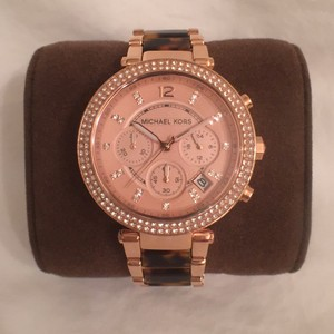 Michael Kors NEW! Rose Gold/Tortoise W/Pave Crystal Chronograph Date
