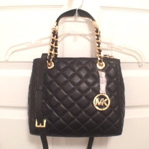 Michael Kors Leather Tote Cross Body Satchel in Black Gold