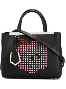 Fendi Leather Calfskin Tote in Black and Pink