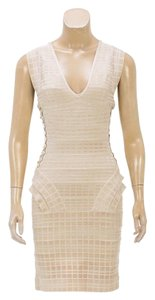 Herv Leger short dress Cream on Tradesy