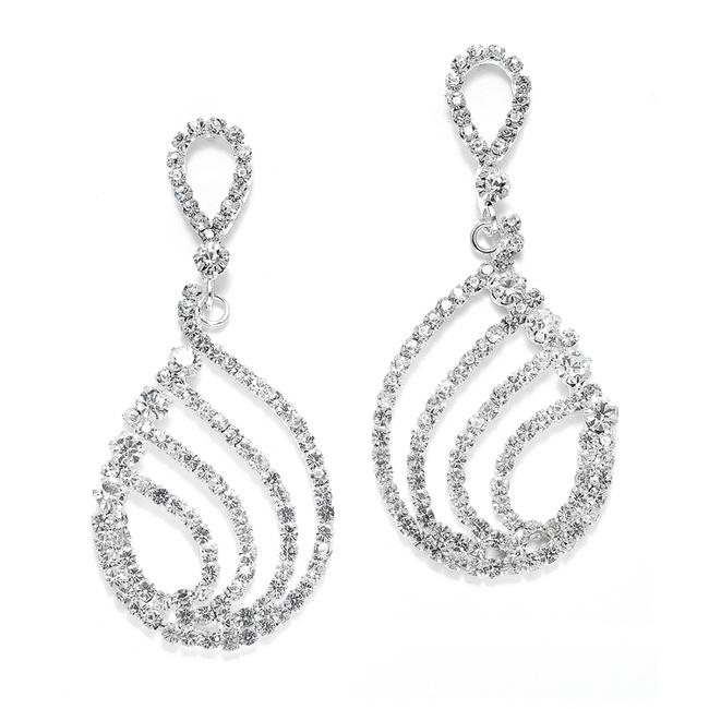 Item - Silver Abstract Pearshape Rhinestone Hoop Earrings