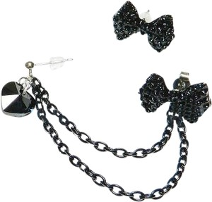 Jujubeads Black Bow & Crystal Heart Double Piercing