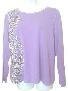 i.e.relaxed Longsleeve Cotton Blend Top Purple