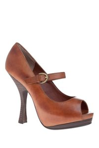 Max Studio Peep Toe Mary Jane Hidden Leather Brown Cognac Platforms