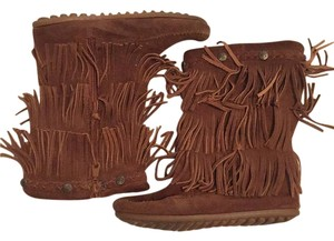Minnetonka Mocs Suede Fringe Brown Boots