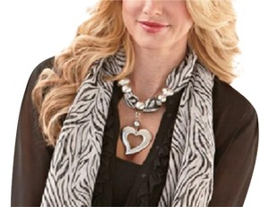 Animal Print Scarf with Heart Pendant