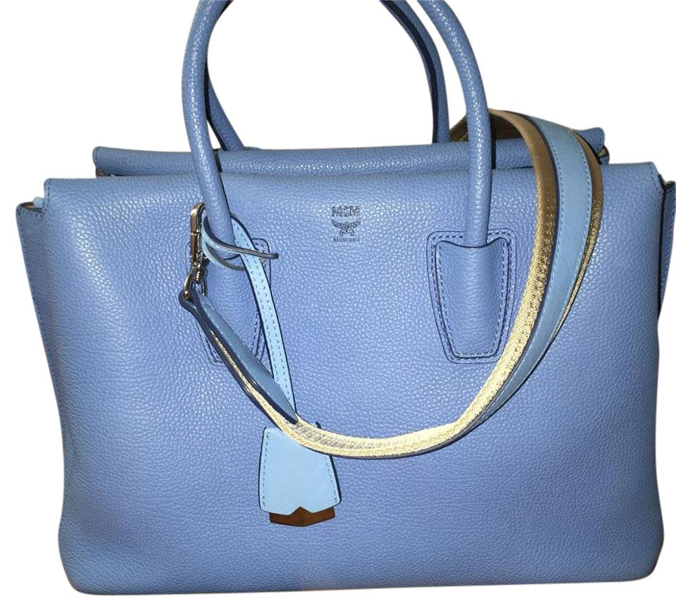 4a21d44ba MCM Tote Milla Medium Mediterranean Blue Leather Cross Body Bag ...
