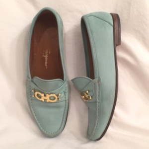 Salvatore Ferragamo Ferragamo.designer Loafers Suede Slip Ons Light Green & Gold Flats