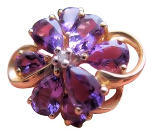 Other Solid 14k YG Genuine Brazilian Amethyst Ring Size 5