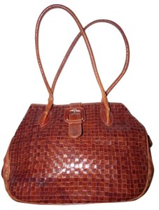 Valentino Mint Vintage Rare Style Xl Size High-end Bohemian Great Signature Satchel in brown woven leather