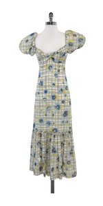 Maxi Dress by Moschino White Blue Floral Silk Maxi