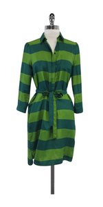 Burberry Brit short dress Green Striped Silk Shirt on Tradesy