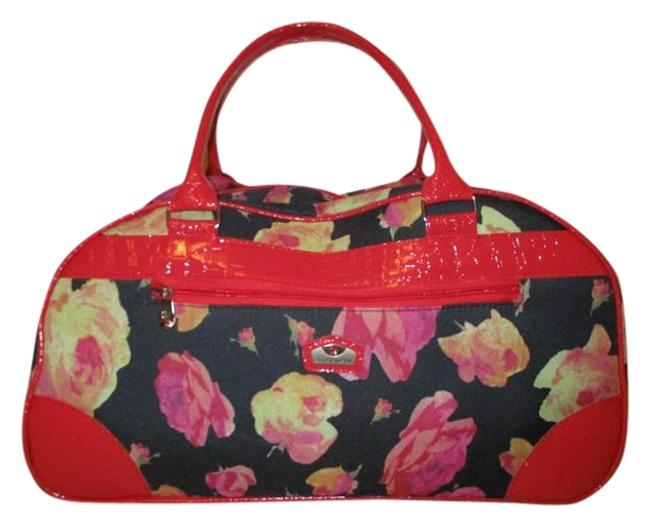 Item - Wheeled Dome Carry On Black & Red Floral Print Polyester Weekend/Travel Bag