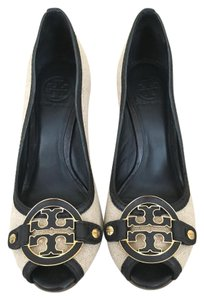 Tory Burch Linen and Navy Wedges